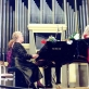 """Giedrė Kaukaitė ir Gražina Ru�ytė atlieka Felikso Bajoro """"Sakmių siuitą"""". Nacionalinė filharmonija. 1997 m."""
