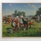 """Jonas Švažas, """"Veršiukų ferma kolūkyje"""". 1953 m. Autorės nuotr."""
