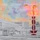 """Vytautas Tomaševičius, """"Aktualizuota Valaičio skulptūra, arba pomirtinis paminklas W raidei"""", grafitas,akrilas, neonas, emalė ant drobės, 2018 m. Autoriaus nuotr."""