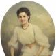 """Konstantinas Gorskis, """"Nežinomos moters su šiaudine skrybėlaite portretas"""". 1905 m."""