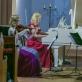 """Fortepijoninis trio """"Kaskados"""" – Rusnė Mataitytė, Albina Šikšniūtė ir Edmundas Kulikauskas. V. Petriko nuotr."""