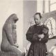 """Leonas  Žuklys dirbtuvėje, prie skulptūros """"Motina"""". 1973 m.  Fotografas – M. Baranausko nuotr."""
