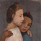 """Paula Modersohn-Becker, """"Mergaitės su baltu ir mėlynu rūbu"""" (1906)"""