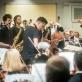 """Modestas Pitrėnas, saksofonų kvartetas """"Signum"""", Lietuvos nacionalinis simfoninis orkestras. D. Matvejevo nuotr."""