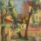 """Mečislovas Bulaka, """"J. Slovackio kiemas Vilniuje, Literatų gatvėje"""". 1943 m. LDM nuos."""