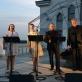 Vokalinis kvartetas bazilikos terasoje. Autorės nuotr.