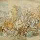 """Kazys Varnelis, """"Rudavos kautynės"""". 1941–1942 m., piešinys"""